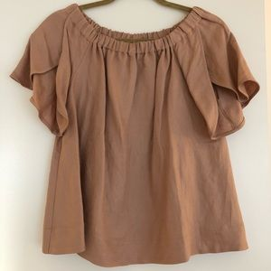 Off the shoulder Cuyana linen top